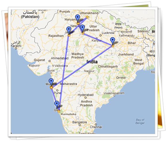Itinerario del viaje a la India