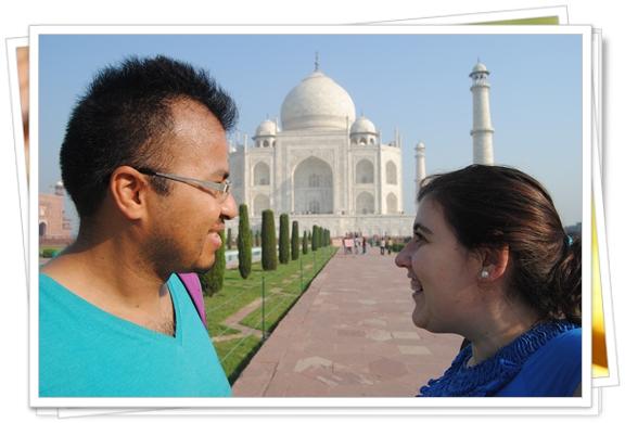 mirando el Taj Majal