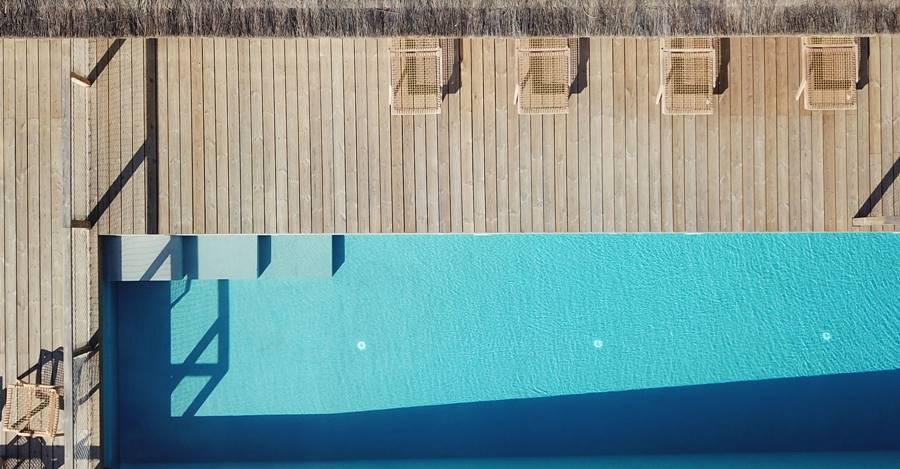 Comporta, Portugal - piscina vista desde el aire