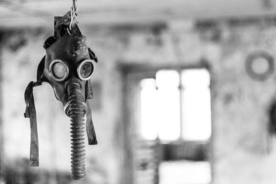 Mask hanging in an abandoned site in Chernobyl.
